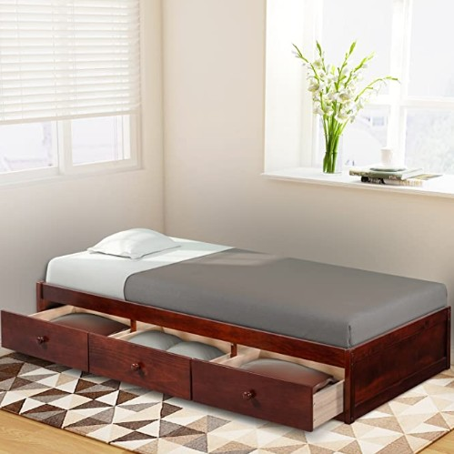 Wood Platform Bed with 3 Drawers - Twin Storage Bed Wood Slat Support, No Box Spring Needed